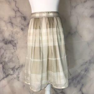 Burberry London cream and tan nova check skirt 14